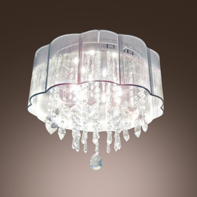 Hand-forged Lampworking Shade Add Charm to Delightful Six Lights Flush Mount Ceiling Light with Beautiful Crystal Falls