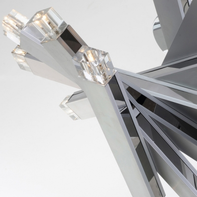 LED 10-light Modern Chrome Finish Close to Ceiling Light