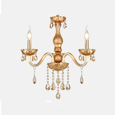 Luxury and Regal Chandelier Completed with Gold Finish and Geaming Crystal Droplets