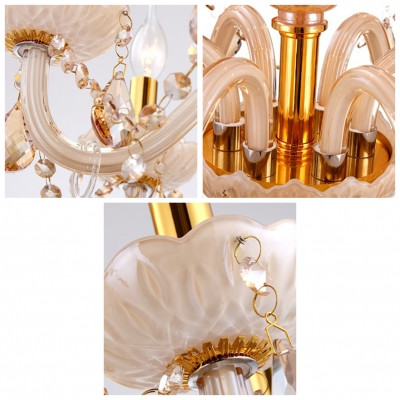 Majestic and Bold 6-Light Champagne Strands of Crystal Bobeche and Pendants Chandelier