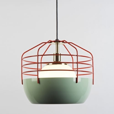 Red iron cage designer mini pendant lighting beautifulhalo red iron cage designer mini pendant lighting aloadofball Image collections
