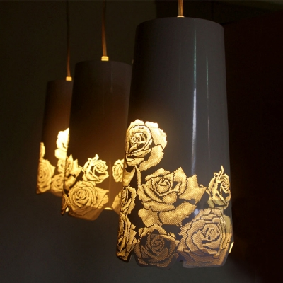 Rose floral craved stainless steel designer multi light pendant rose floral craved stainless steel designer multi light pendant light with oblong canopy aloadofball Image collections