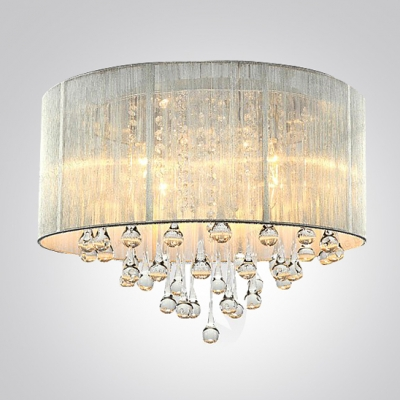 Silver Drum Shade and Rich Crystal Rainfall Flush Mount Chandelier Light & Silver Drum Shade and Rich Crystal Rainfall Flush Mount Chandelier ...
