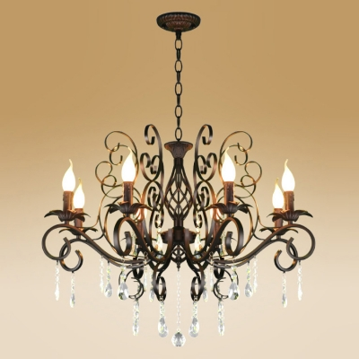 Simple Design Eight Lights Classic Style Chandelier in Gracegul Hand-Rubbed Black Finish