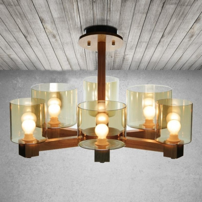 Six glass shades wood designer chandelier great for you 236wide aloadofball Choice Image