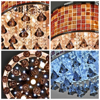 Smoky Crystal Diamonds Mosaic Round Shade Crystal Accented Large Pendant