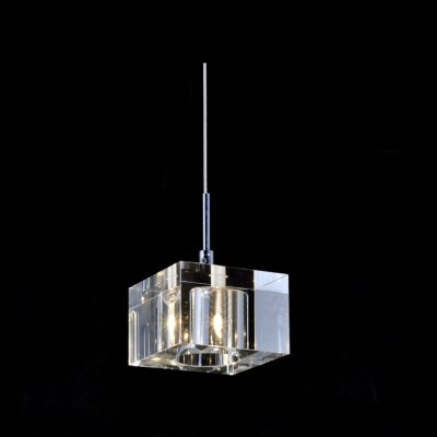 Stunning Mini Pendant Light Embedded with Clear Crystal Squares Dazzle Your Decor