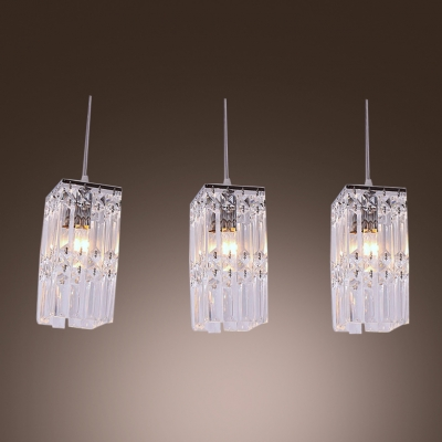 rectangular pendant light. Stunning Rectangular Pendant Light Features Three Lights With Square Crystal N