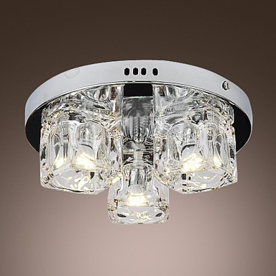 "Three Lights 7.8""Wide Crystal Foyer Flush Mount Ceiling Lights"