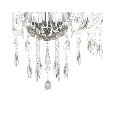 Traditional Glittering Six Candle Lights Crystal-accented Chandelier in Clear for Living Room