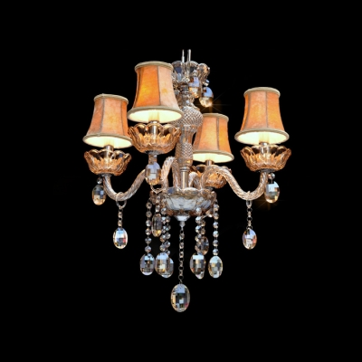 Warm Fabric Shades Four Lights Hanging Dizzying Crystal Drops Chandelier