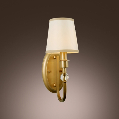 White Fabric Hardback Shade and Clear Crystal Ball Add Glamour to Stunning Wall Sconce