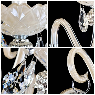 Beautiful Scrolling Arms Formed Distinguished Single Light Crystal Wall Sconce