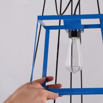 """Chic and Colorful Wrought Iron Cube Cage 9.8""""Wide Designer Mini Pendant Lighting"""