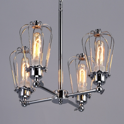 Chrome Cage Bulb Style Burt LED Pendant Light With 4 Lights