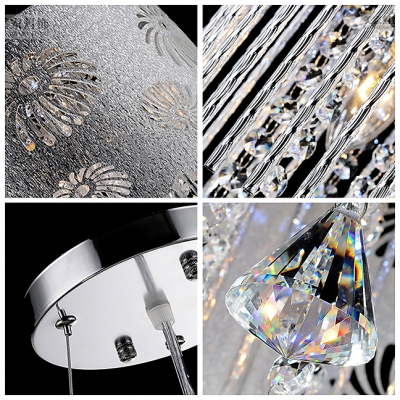 Chrome Finish Frame Holds Stunning Decorative Drum Shade in Elegant Pendant Light with Crystal Teardrop