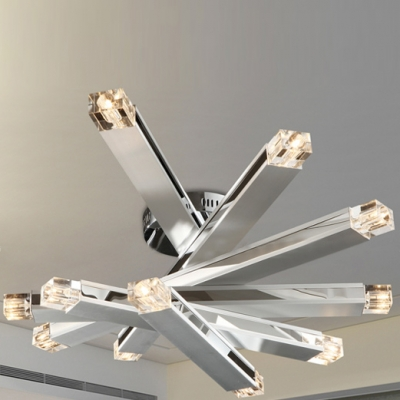 Close To Ceiling Lights: Chrome Finished LED 12-light Modern Close to Ceiling Light,Lighting