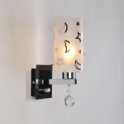 Contemporary Chrome Finish Crystal Accented Single Light Wall Sconce with Moon-Star Pattern Glass Shade