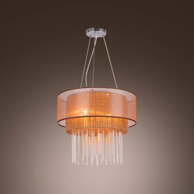 Contemporary Gorgeous Pendant Light Features Charming Two Tiers Shade and Beautiful Crystal Fall