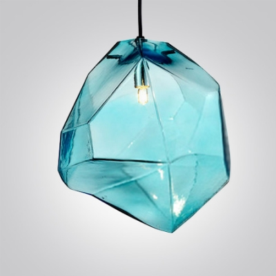 ... Crystal Ice Cube in Blue/Orange/Grey Novel Pendant Light