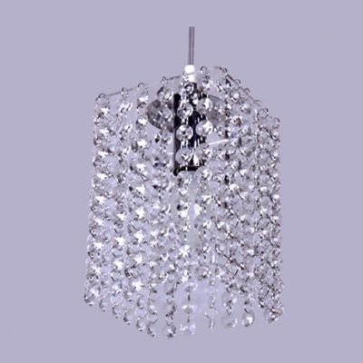 Dazzling Mini Pendant Light Fixture Features Strings of Crystal Beads and Chrome Finish