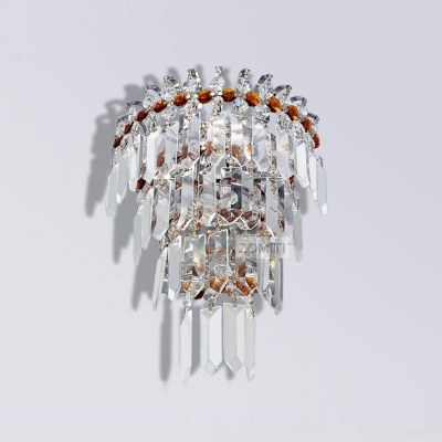 Dazzling Three Tiers of Crystal Falls and Silver Finish Frame Add Glamour to Shining Two-light Wall Sconce Perfect for Living Room