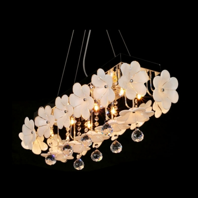 Delicate Flower Adorned Frame and Clear Crystal Drops Formed Splendid Pendant Light
