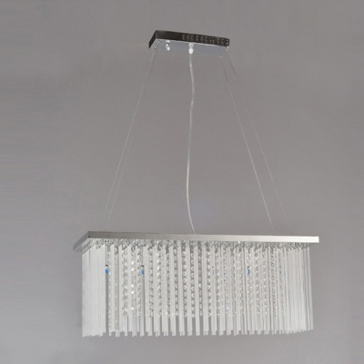 Exquisite Glamour Defines Dazzling Pendant Light with Crystal Falls from Silver Finished Frame