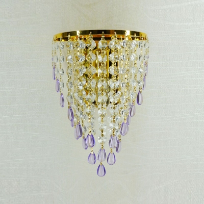 Exquisite Gold Finish and Strands of Crystal Beads Add Charm to Wall Light Fixture Creating Welcomed Addition to Contemporary Style Home Decor