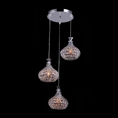 Fabulous 3-Light Faceted Crystals Shinning with Metal Shade Modern Chrome Finished Multi -Light Pendant