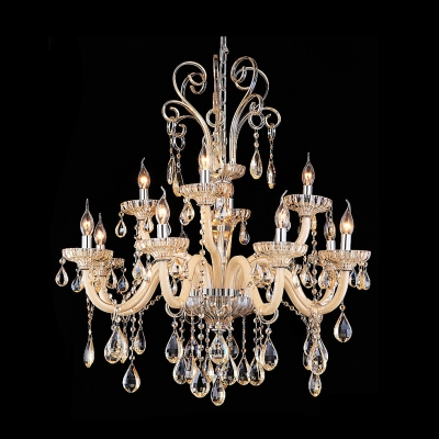 Faceted Clear Crystal Scrolling Arms Candle Light Crystal Dropped Chandelier
