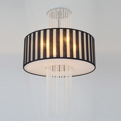 Four Lights Modern Close to Ceiling Light  with Black Stripe Pattern Drum Shade and Strands of Crystal Beads