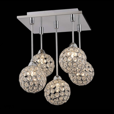 Gracefully 5 light crystal globe shades and stainless steel canopy multi light pendant