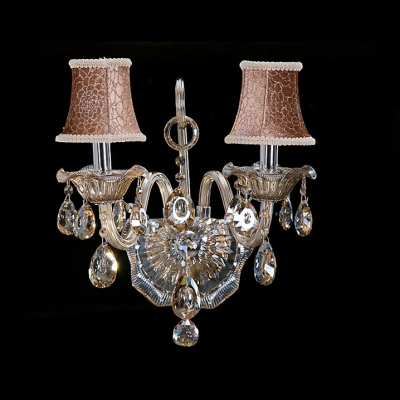 Grand Two Light Wall Sconce Shows Stunning Look with Clear Crystal and Pink Fabric Shade
