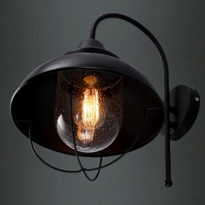 Single Light Black Outdoor Wall Light with Glass Shade