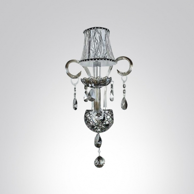 Lustrous Single Light Wall Sconce with Grand Fabric Shade and Graceful Crystal Accents