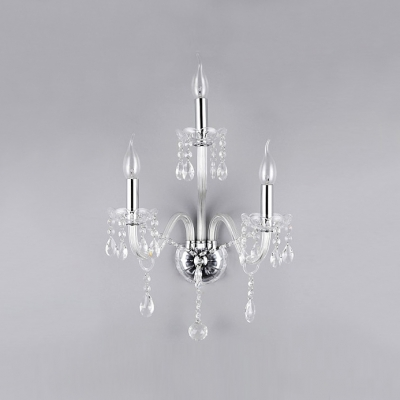 Magnificent All Clear Candelabra Style Wall Sconce with Beautiful Curving Arms