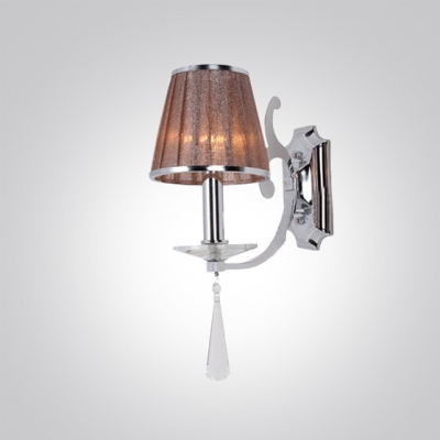 Modern Polished Finish Iron Frame and Brown Shade Composed Wall Sconce with Faceted Crystal Droplet