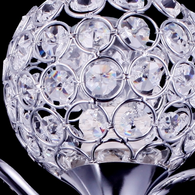 Modern Single Light  Wall Light Fixture Features Graceful Scrolling Arms and Polished Chrome Finish Frame Accented with Clear Crystal Beads