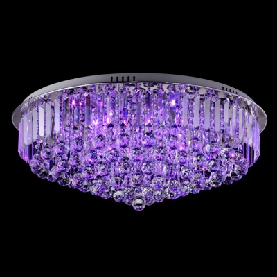 Plentiful Shimmering Crystal Balls Hang Together Round Flush Mount in Chrome Finish