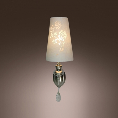 Romantic and Elegant  Wall Sconce Adorned with Clear Crystal Drops and White Flower Cutouts Fabric Shade