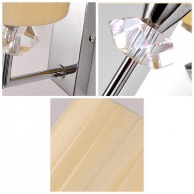 Simple Modern Stye Wall Sconce with Beige Fabric Drum Shade and Polished Chrome Finish