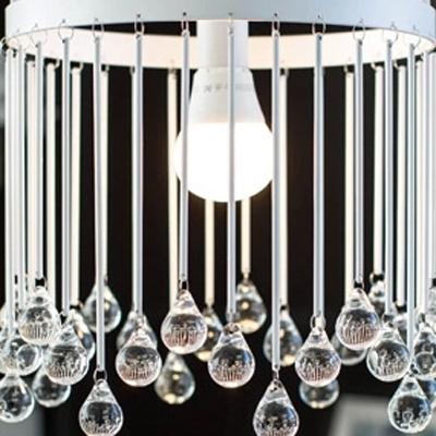 Single Light Elegant Design Metal Frame Lovely Cage Pendant Light Hanging Crystal Balls