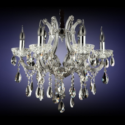 Splendid Crystal Chandelier Offers Opulence with Ornate Frame Accented by Sparkling Crystals