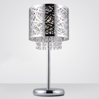Baycheer / Stunning Chrome Finish Drum Shade and Beautiful Strands of Clear Crystal Beads Add Charm to Contemporary Table Lamp