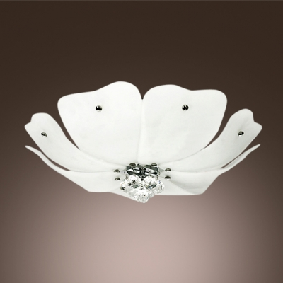 Stunning Flush Mount Ceiling Light Completed with Delicate Glass Shade and Crystal Balls