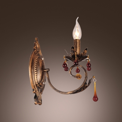 Traditional Wrought Iron Wall Sconce Featured Delicate Scuplture and Strolling Arm