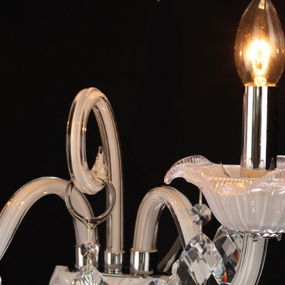 Two Candle-style Light  Wall Sconce Features Graceful Curving Crystal Arms