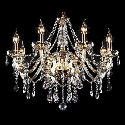 Unmatched Elegance 6-Light Gold Finished and Clear Crystal Bedroom Chandelier