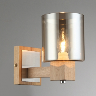 & Amber Glass Cylinder Shade Wood Canopy Designer Wall Lights ...